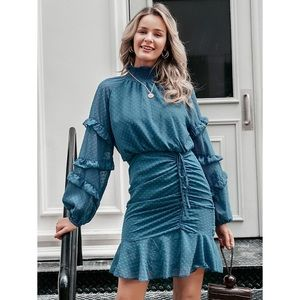 NWT 🆕 RuffleHem Drawstring Ruched Swiss Dot Dress